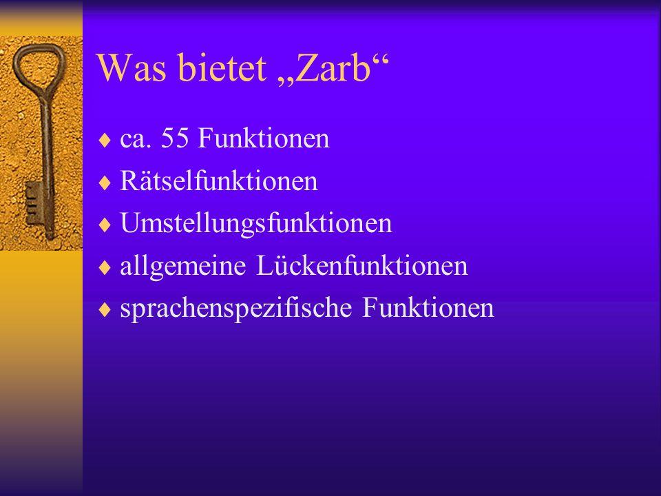 """Was bietet """"Zarb ca. 55 Funktionen Rätselfunktionen"""