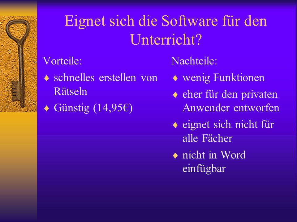 Eignet sich die Software für den Unterricht