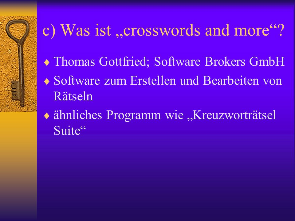 "c) Was ist ""crosswords and more"
