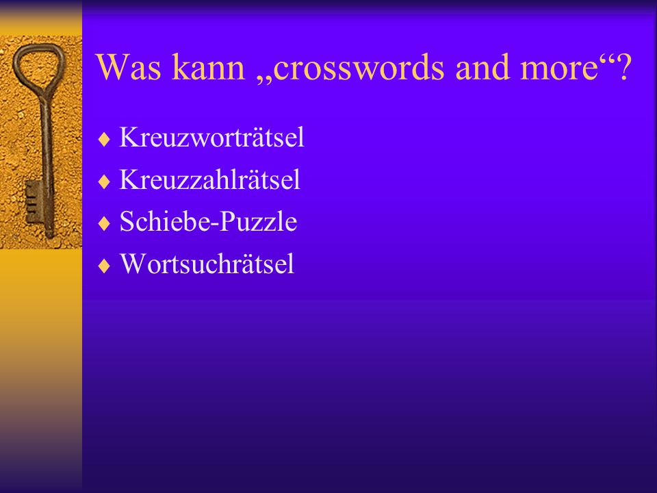 "Was kann ""crosswords and more"
