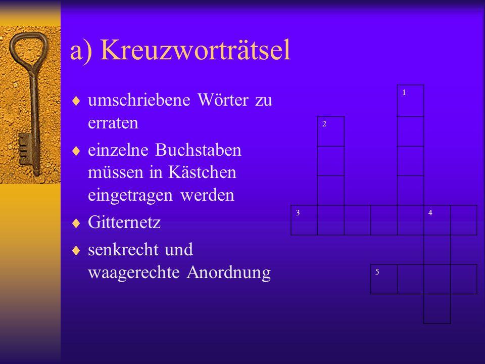 a) Kreuzworträtsel umschriebene Wörter zu erraten