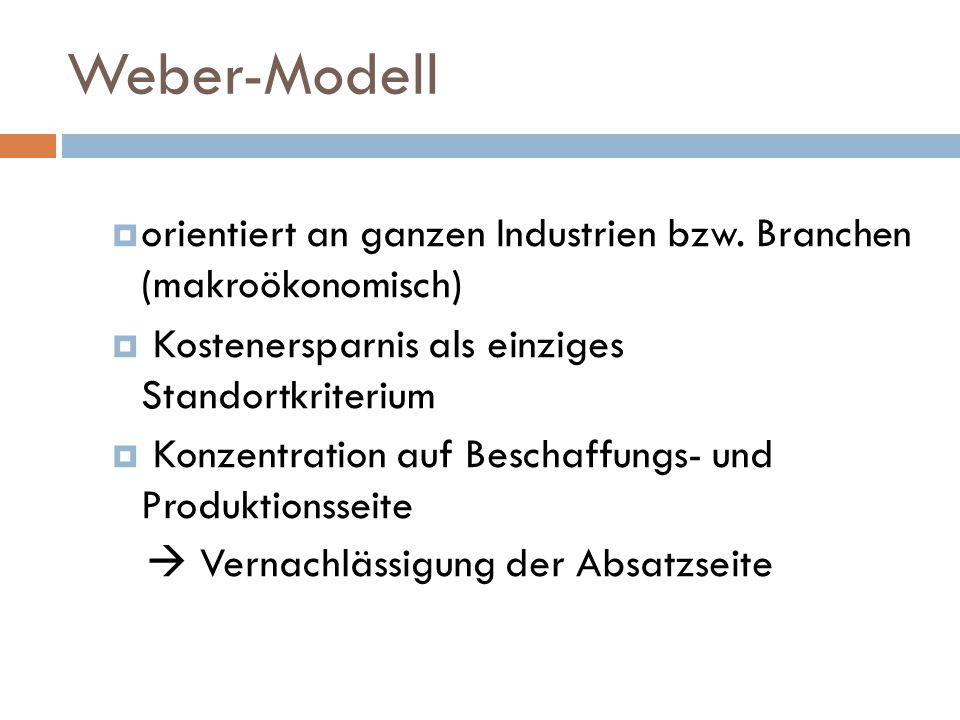 Weber-Modell orientiert an ganzen Industrien bzw. Branchen (makroökonomisch) Kostenersparnis als einziges Standortkriterium.