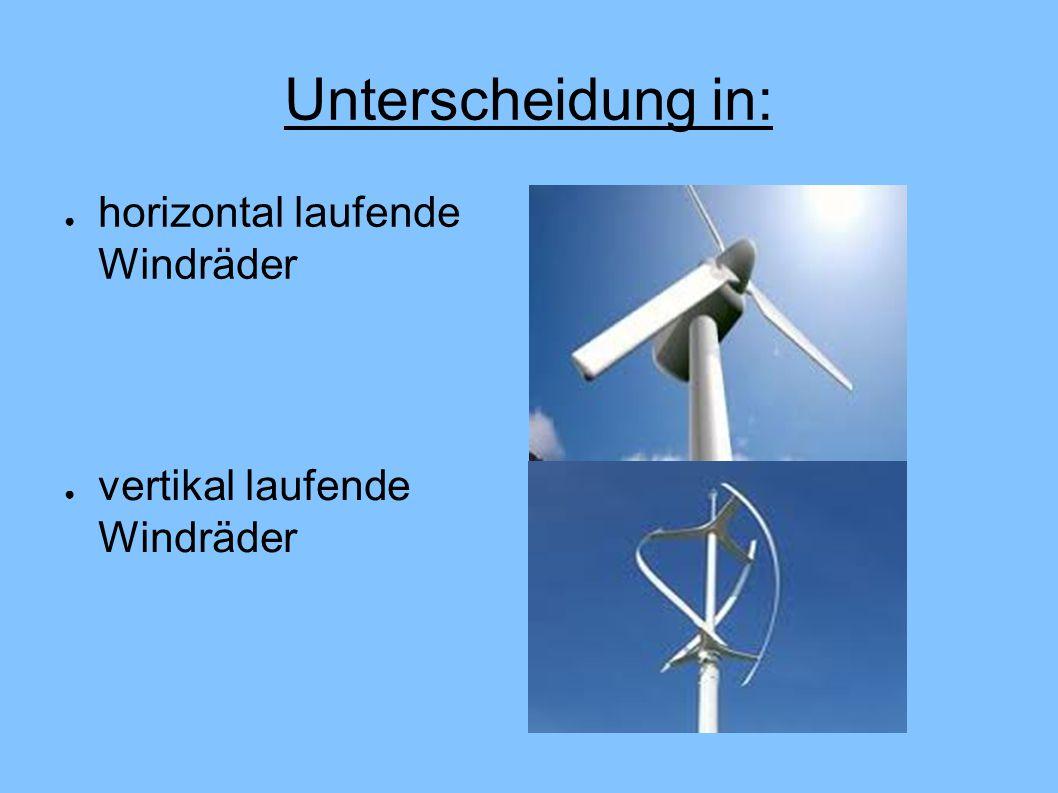 Unterscheidung in: horizontal laufende Windräder