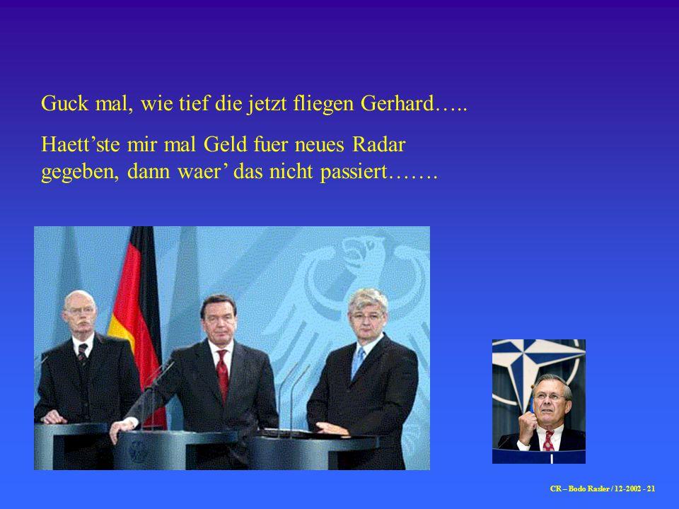 Guck mal, wie tief die jetzt fliegen Gerhard…..
