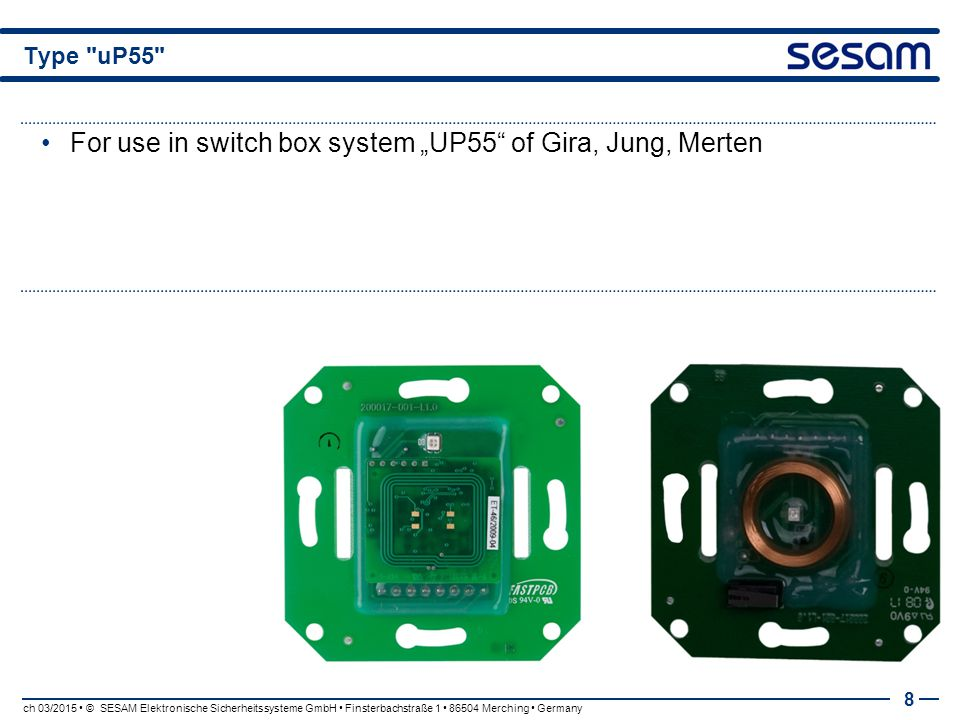 "For use in switch box system ""UP55 of Gira, Jung, Merten"