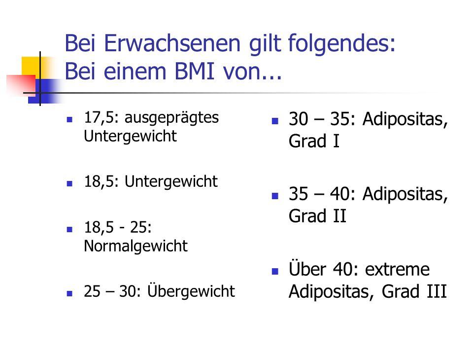 Bei Erwachsenen gilt folgendes: Bei einem BMI von...