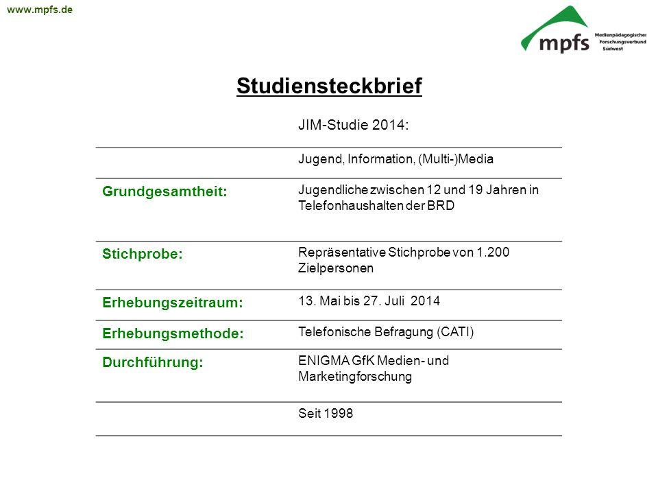 Studiensteckbrief JIM-Studie 2014: Grundgesamtheit: Stichprobe: