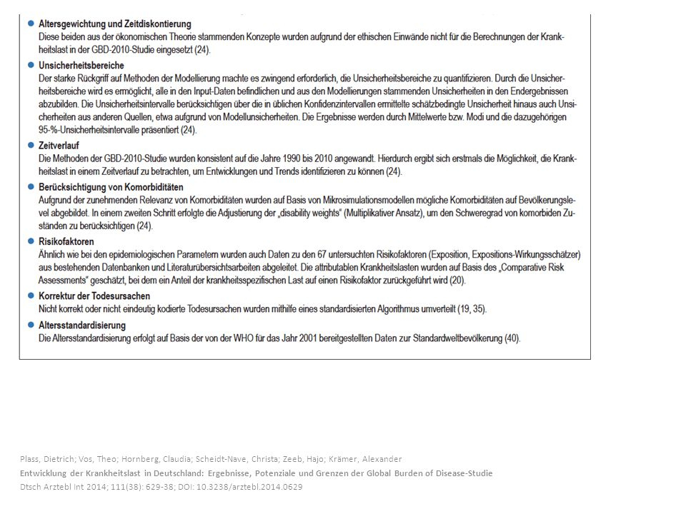 Plass, Dietrich; Vos, Theo; Hornberg, Claudia; Scheidt-Nave, Christa; Zeeb, Hajo; Krämer, Alexander