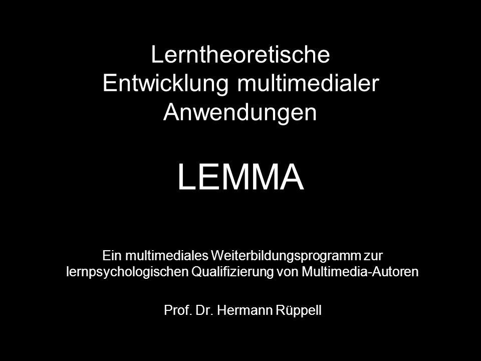 Lerntheoretische Entwicklung multimedialer Anwendungen LEMMA
