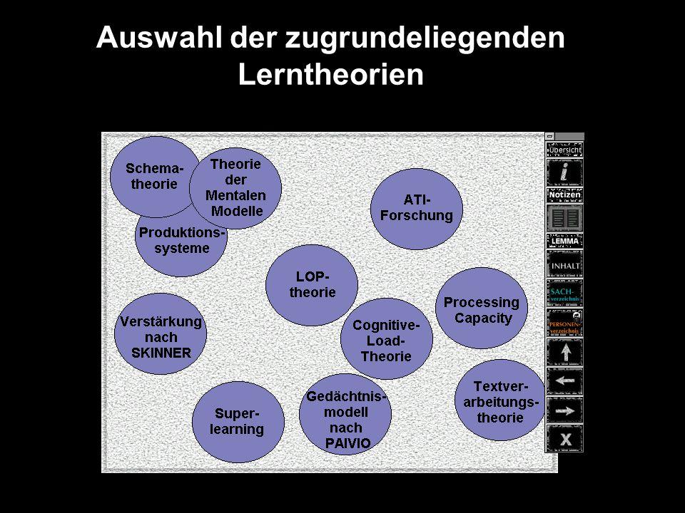 Auswahl der zugrundeliegenden Lerntheorien