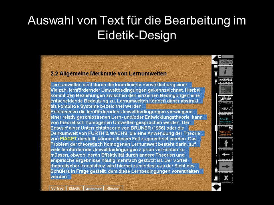 Auswahl von Text für die Bearbeitung im Eidetik-Design