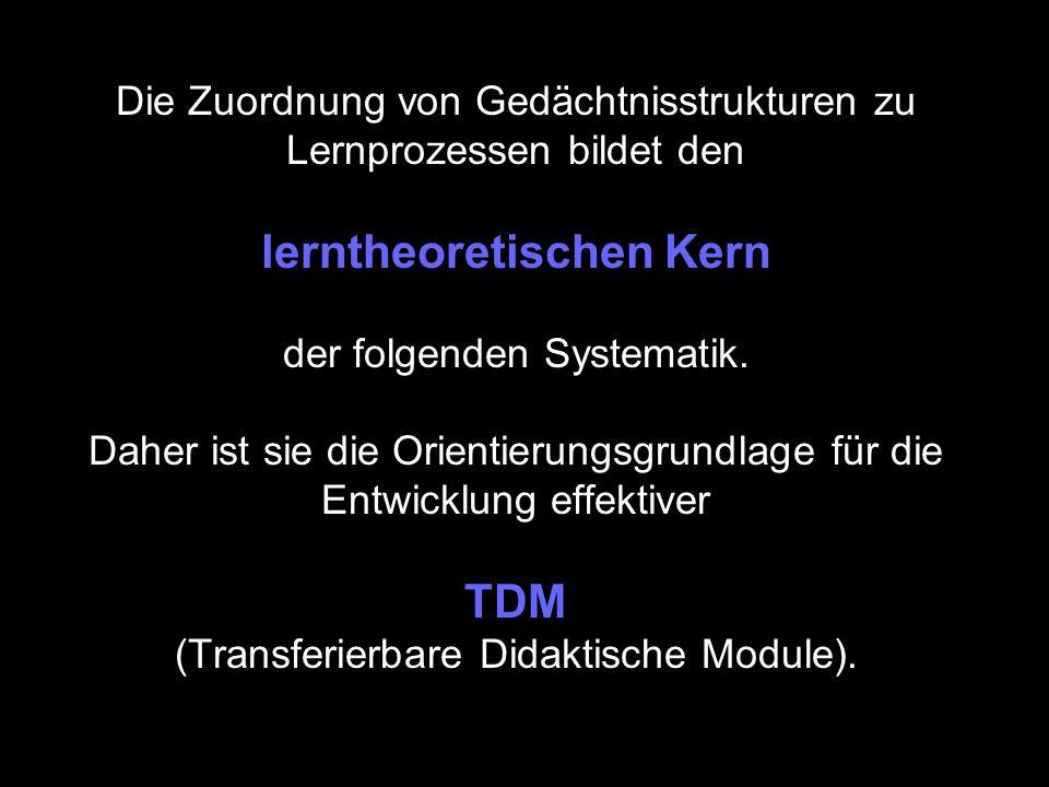 Die Zuordnung von Gedächtnisstrukturen zu Lernprozessen bildet den lerntheoretischen Kern der folgenden Systematik.
