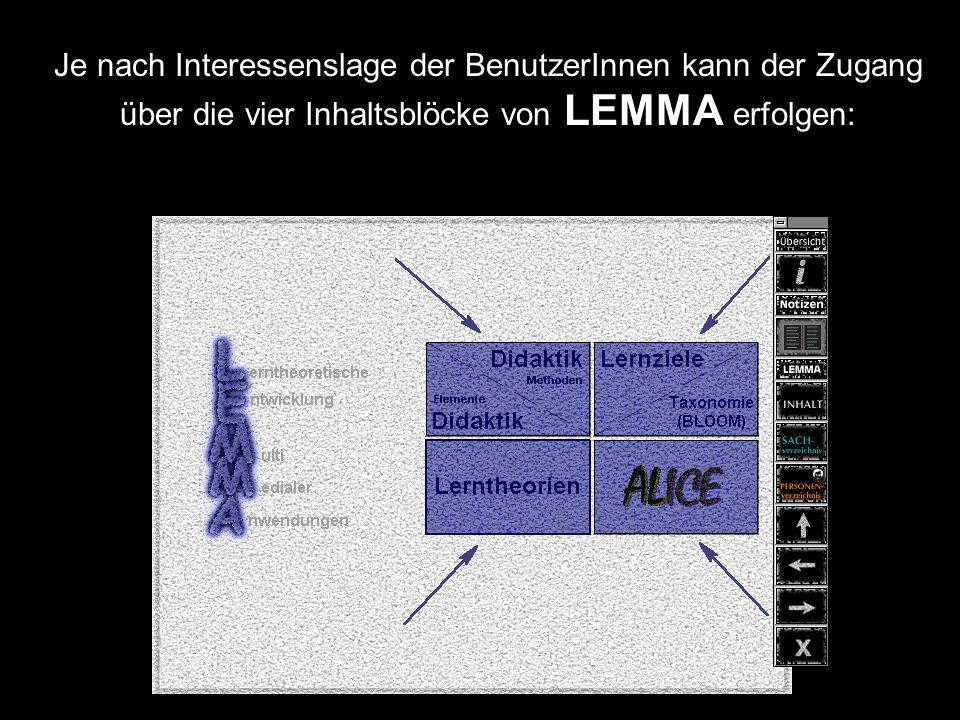 Je nach Interessenslage der BenutzerInnen kann der Zugang über die vier Inhaltsblöcke von LEMMA erfolgen: