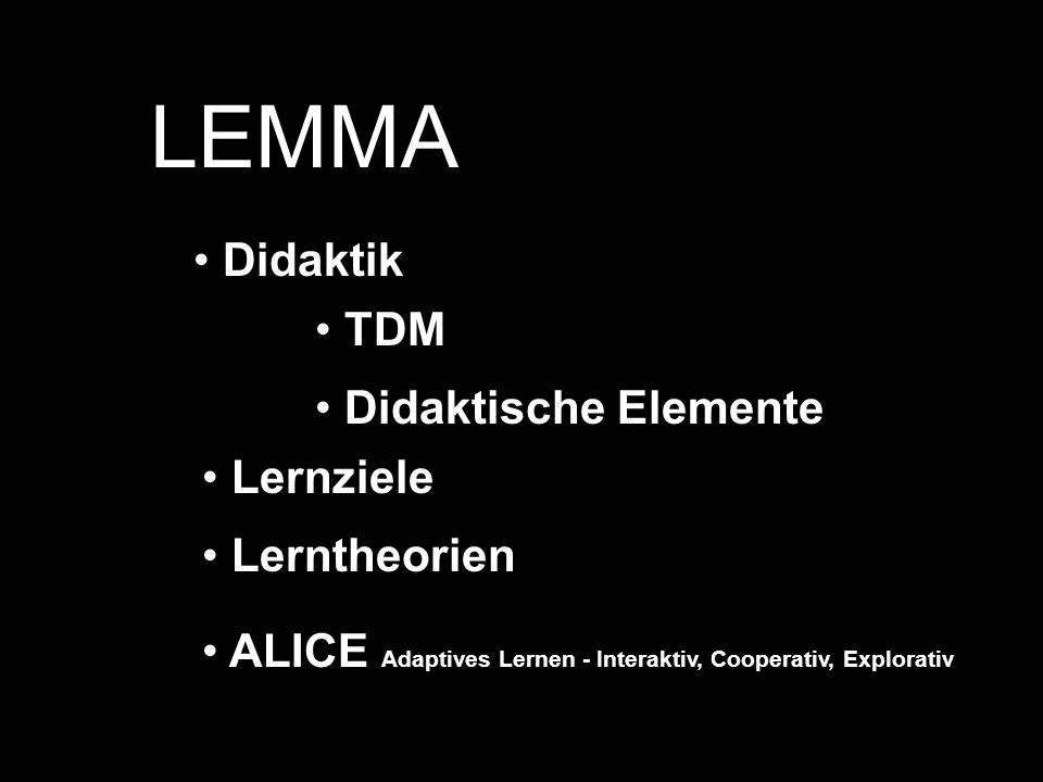 LEMMA Didaktik TDM Didaktische Elemente Lernziele Lerntheorien