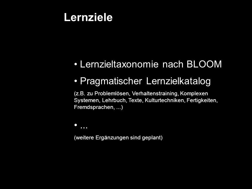 Lernziele Lernzieltaxonomie nach BLOOM Pragmatischer Lernzielkatalog