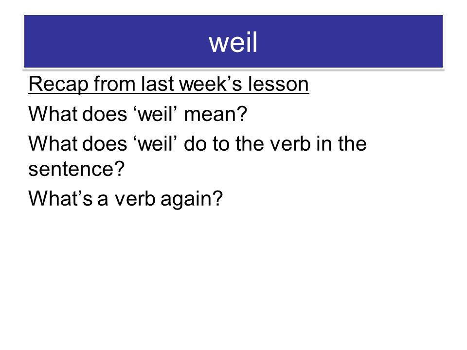 weil Recap from last week's lesson What does 'weil' mean.