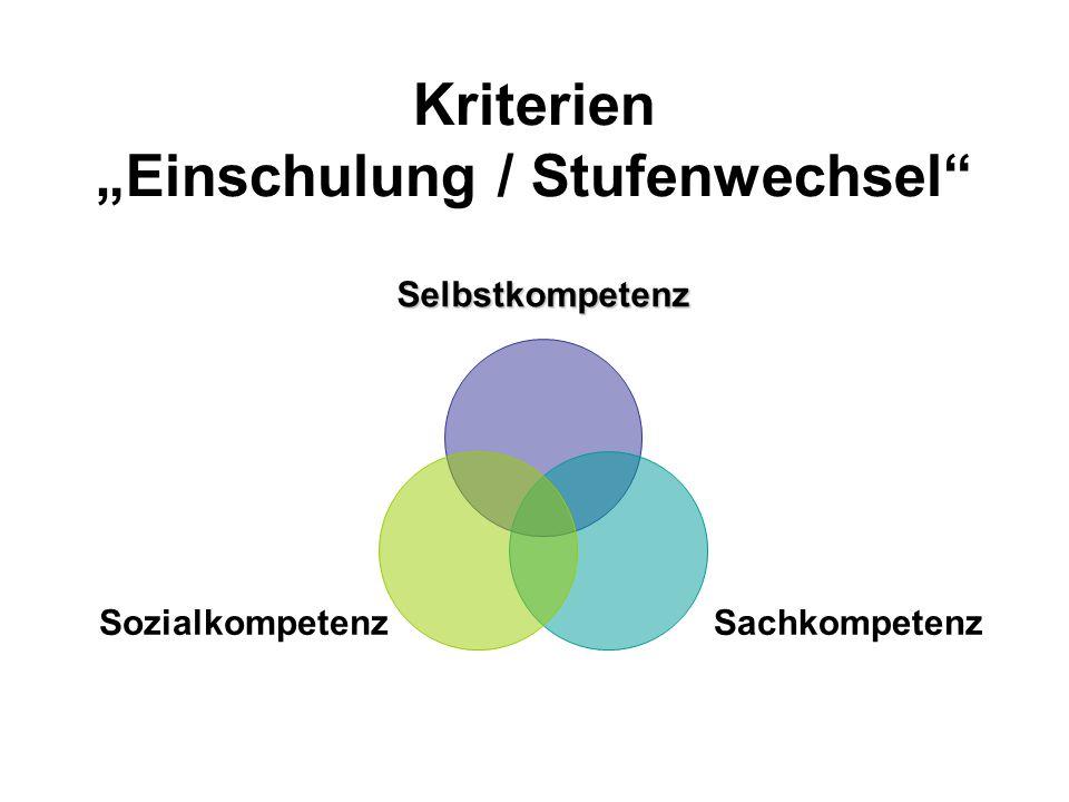 """Kriterien """"Einschulung / Stufenwechsel"""