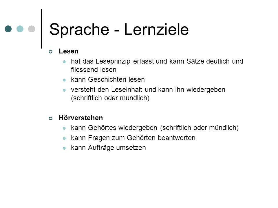Sprache - Lernziele Lesen