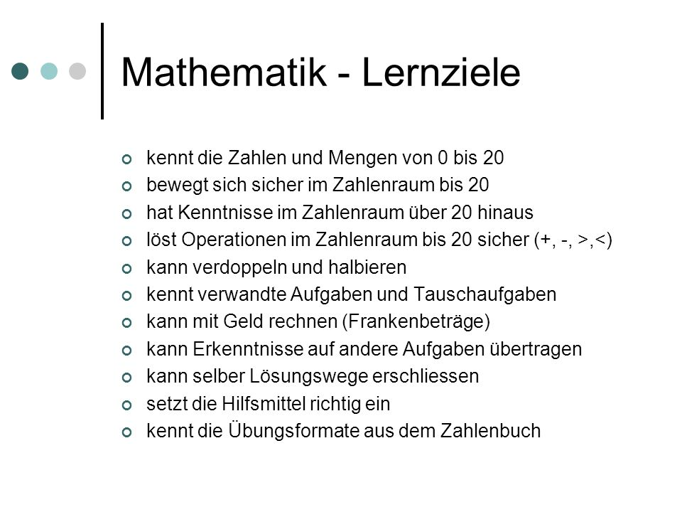 Mathematik - Lernziele