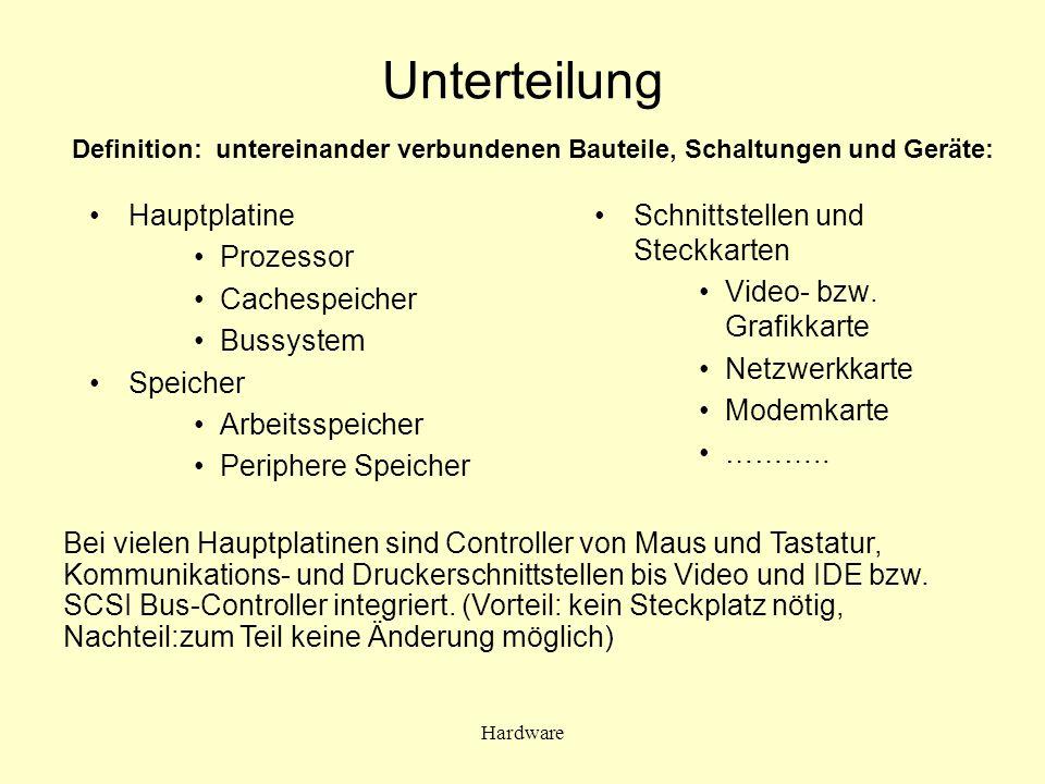 Unterteilung Hauptplatine Prozessor Cachespeicher Bussystem Speicher