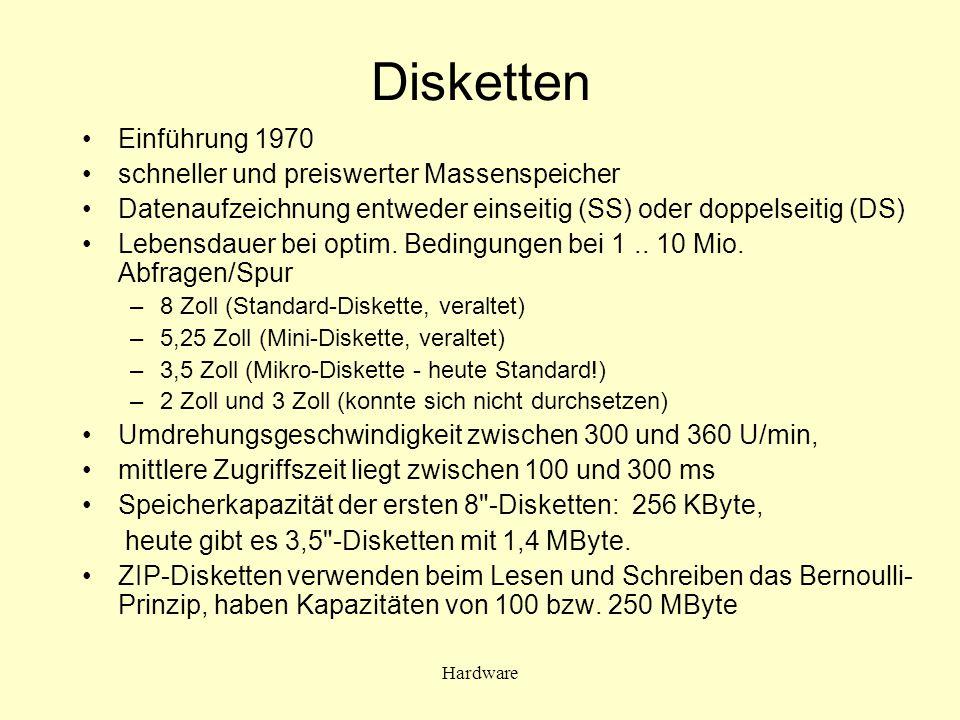 Disketten Einführung 1970 schneller und preiswerter Massenspeicher