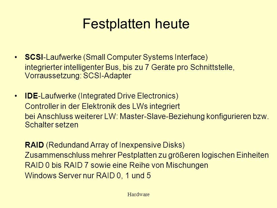 Festplatten heute SCSI-Laufwerke (Small Computer Systems Interface)