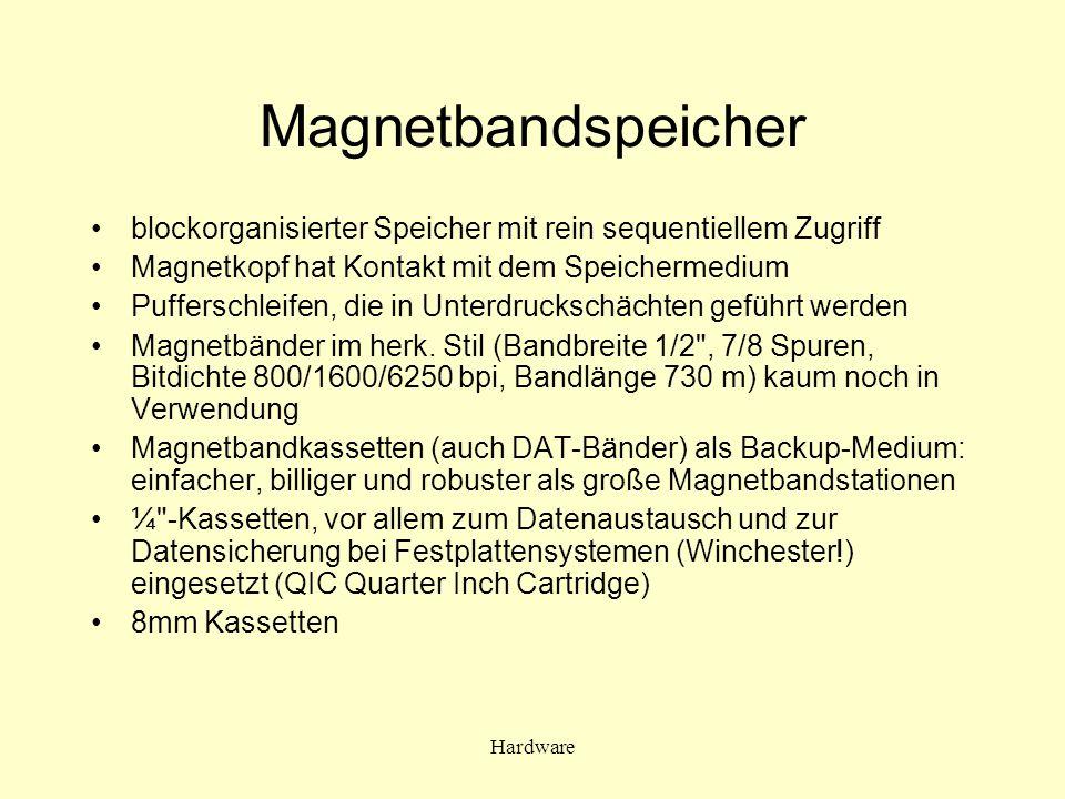 Magnetbandspeicher blockorganisierter Speicher mit rein sequentiellem Zugriff. Magnetkopf hat Kontakt mit dem Speichermedium.