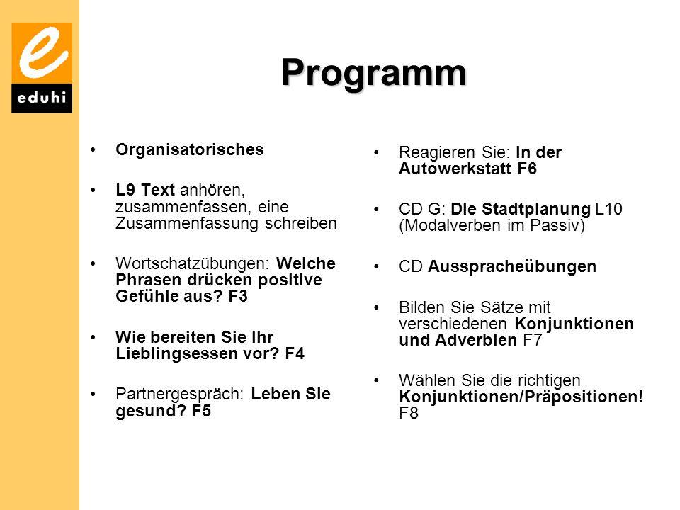Programm Organisatorisches Reagieren Sie: In der Autowerkstatt F6