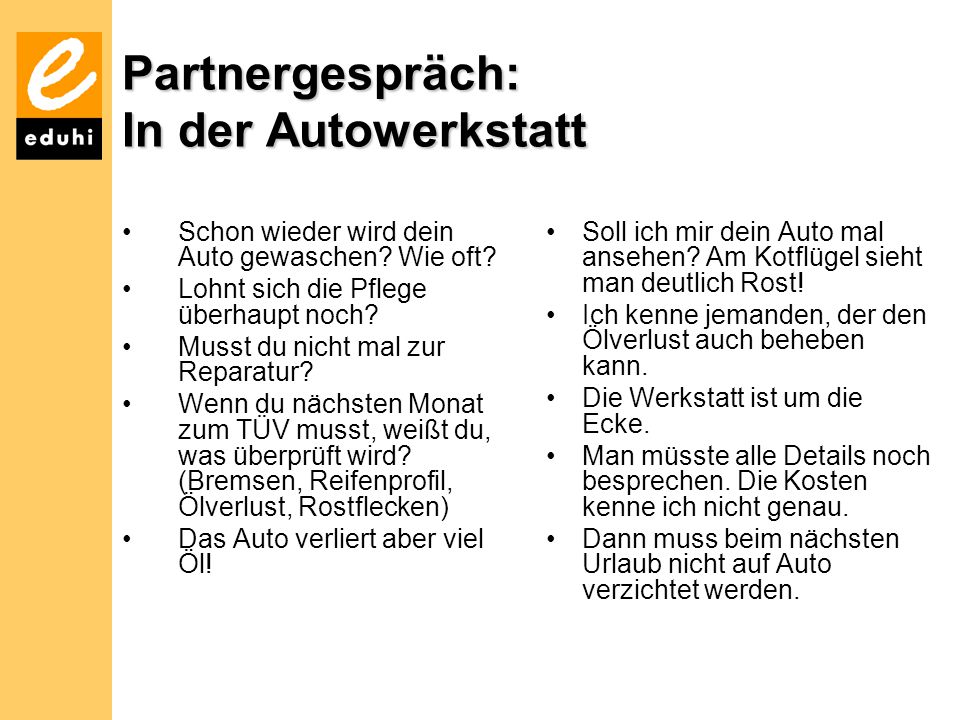 Partnergespräch: In der Autowerkstatt