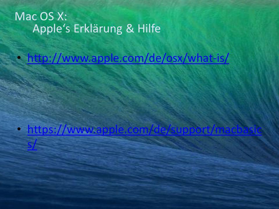 Mac OS X: Apple's Erklärung & Hilfe