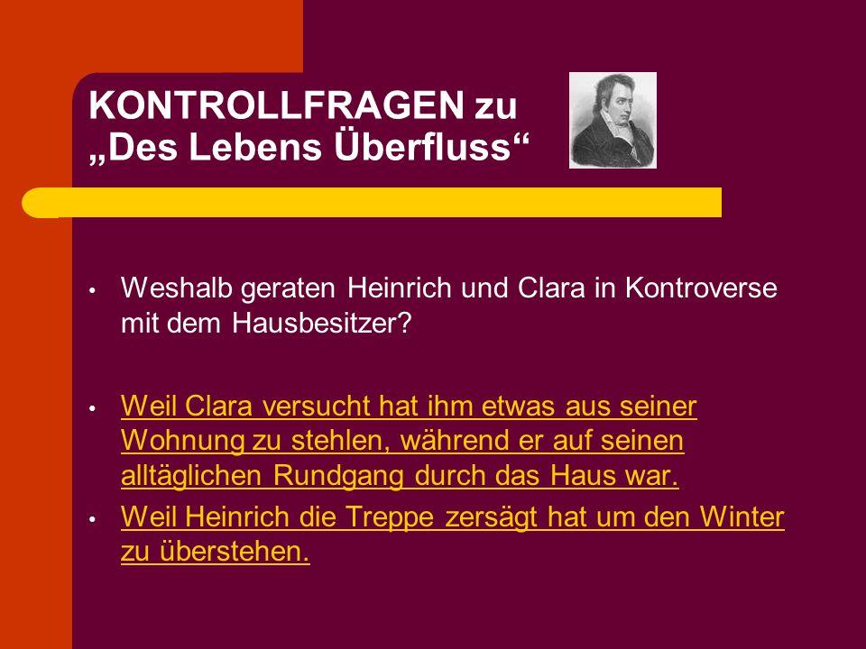 """KONTROLLFRAGEN zu """"Des Lebens Überfluss"""