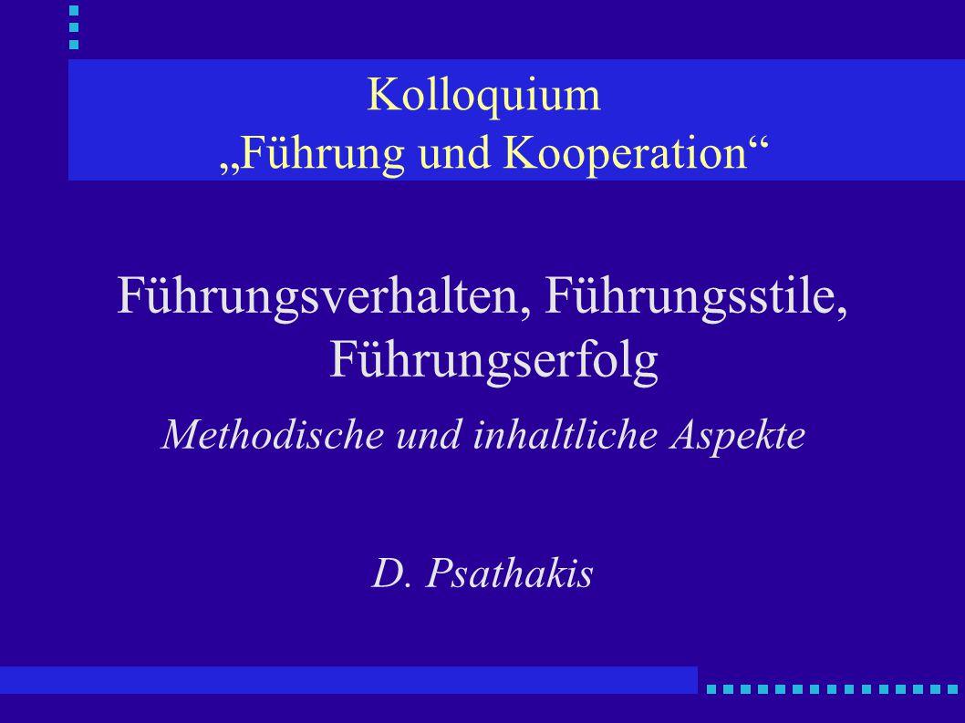 """Kolloquium """"Führung und Kooperation"""