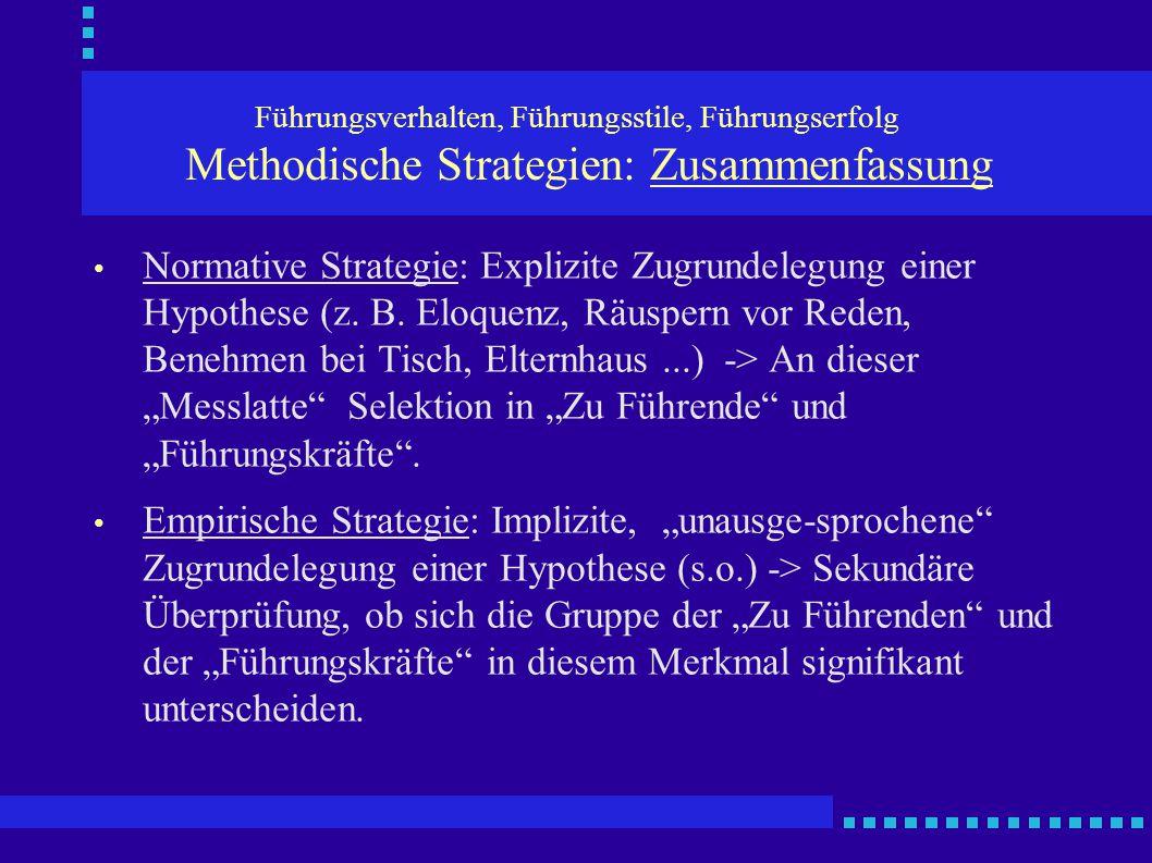 Führungsverhalten, Führungsstile, Führungserfolg Methodische Strategien: Zusammenfassung