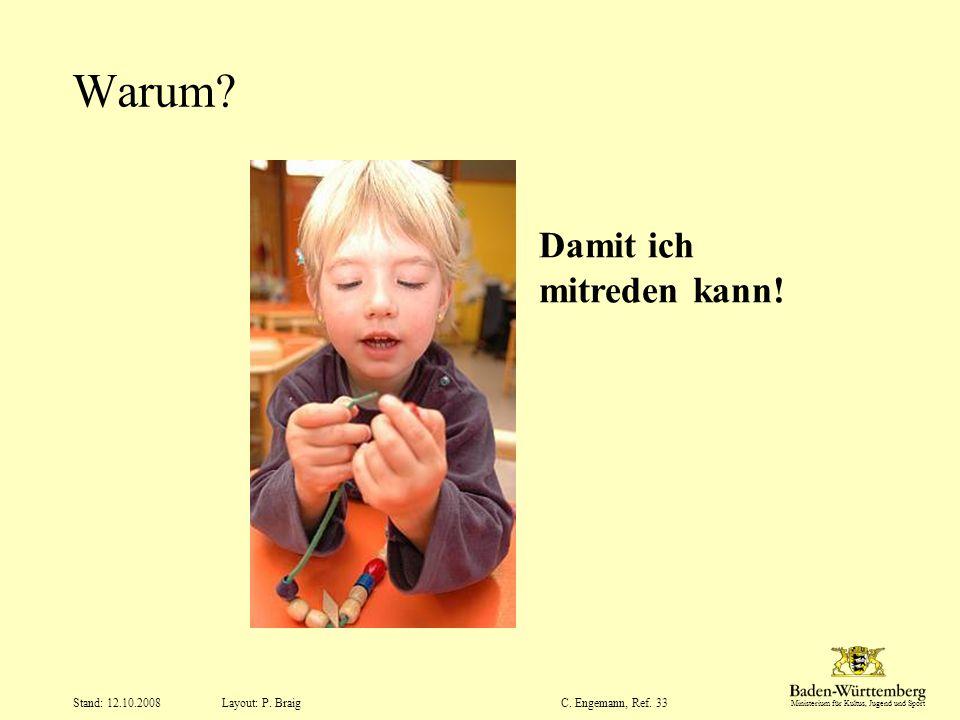 Warum Damit ich mitreden kann! Stand: 12.10.2008 C. Engemann, Ref. 33