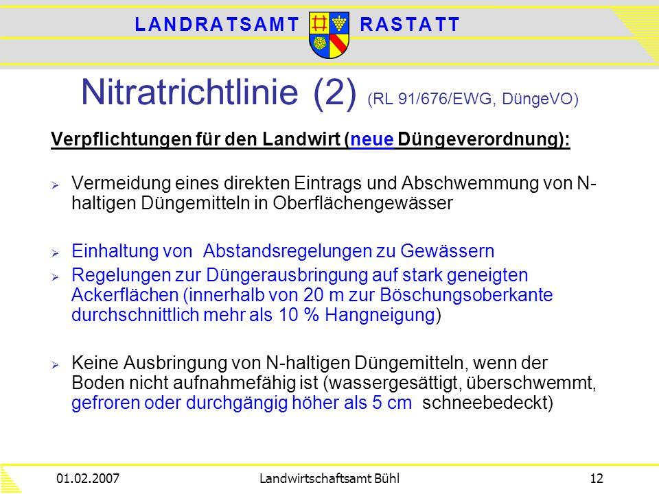 Nitratrichtlinie (2) (RL 91/676/EWG, DüngeVO)