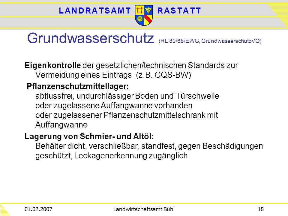 Grundwasserschutz (RL 80/68/EWG, GrundwasserschutzVO)