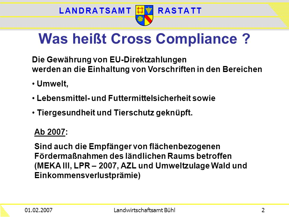 Was heißt Cross Compliance