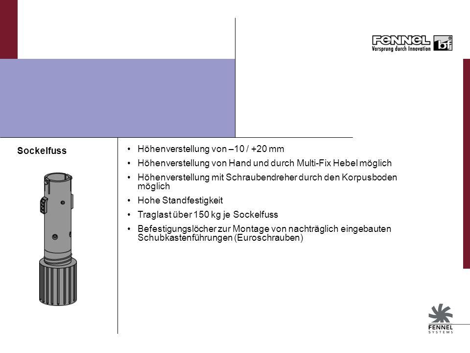 Sockelfuss Höhenverstellung von –10 / +20 mm. Höhenverstellung von Hand und durch Multi-Fix Hebel möglich.