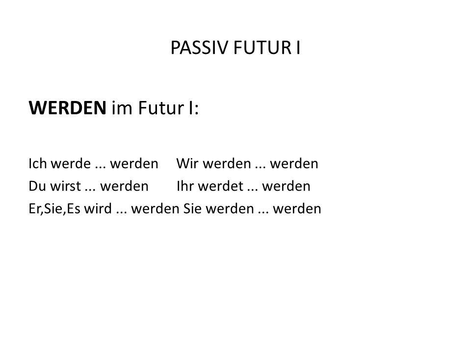PASSIV FUTUR I WERDEN im Futur I: