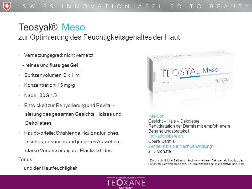 Teosyal® Meso zur Optimierung des Feuchtigkeitsgehaltes der Haut