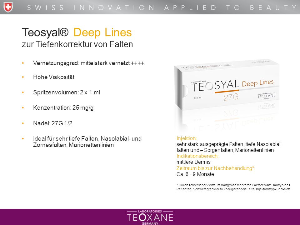 Teosyal® Deep Lines zur Tiefenkorrektur von Falten