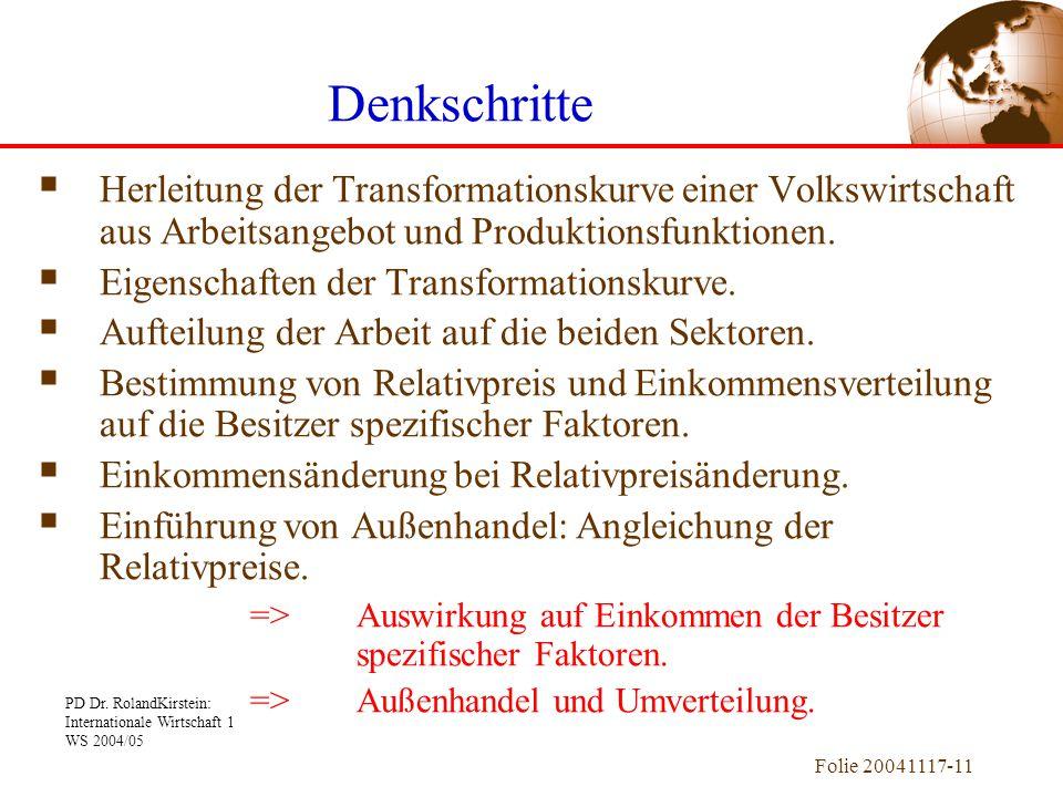 Denkschritte Herleitung der Transformationskurve einer Volkswirtschaft aus Arbeitsangebot und Produktionsfunktionen.