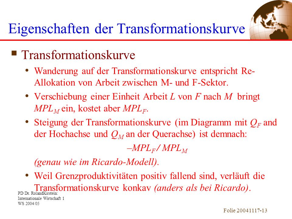 Eigenschaften der Transformationskurve