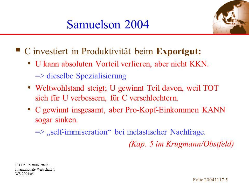 Samuelson 2004 C investiert in Produktivität beim Exportgut: