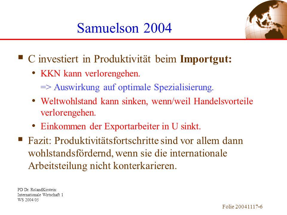 Samuelson 2004 C investiert in Produktivität beim Importgut: