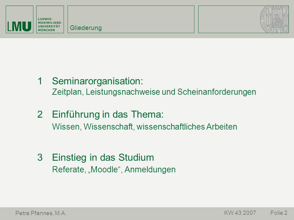 1 Seminarorganisation: