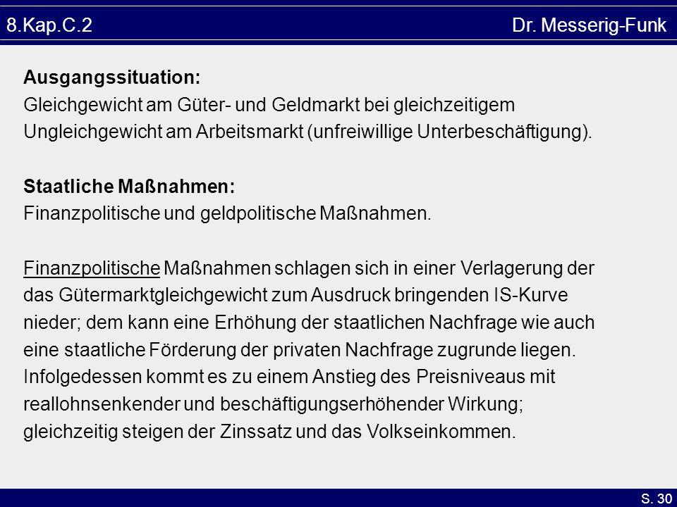 8.Kap.C.2 Dr. Messerig-Funk Ausgangssituation: Gleichgewicht am Güter- und Geldmarkt bei gleichzeitigem.