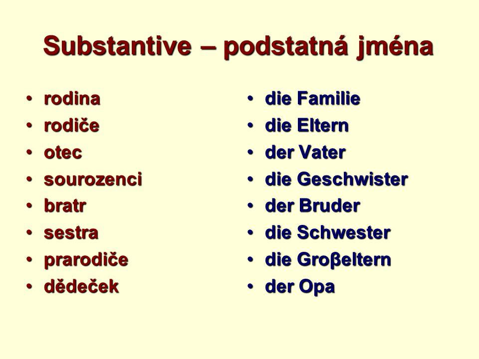 Substantive – podstatná jména