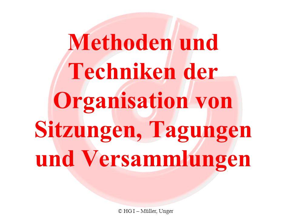 Methoden und Techniken der Organisation von Sitzungen, Tagungen und Versammlungen