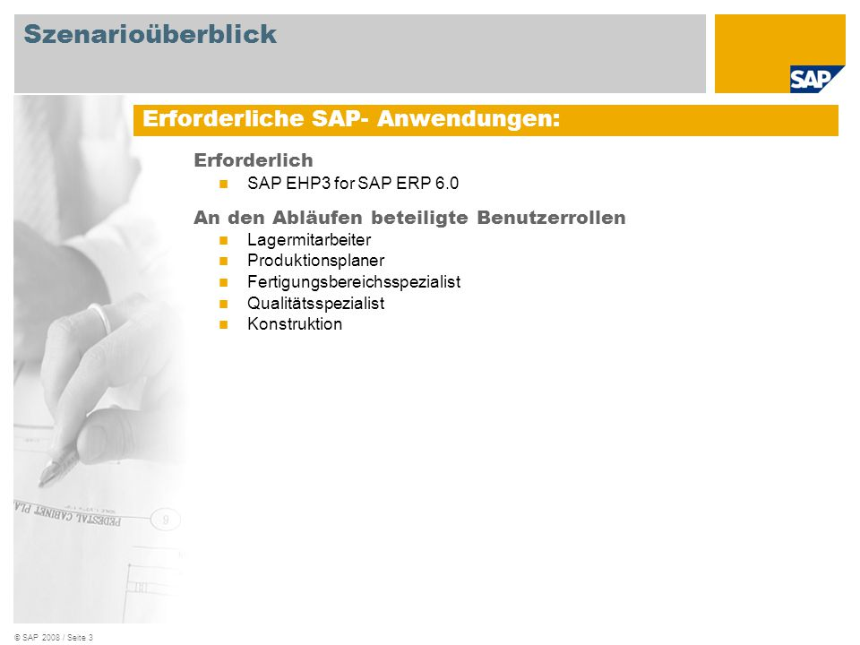 Szenarioüberblick Erforderliche SAP- Anwendungen: Erforderlich